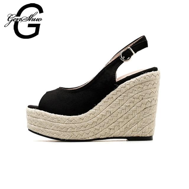GENSHUO Summer Sandals Women Shoes Black Espadrilles 11cm Wedges Sandals Platform 4 cm Sexy Peep Toe Back Strap 2018 Sandals