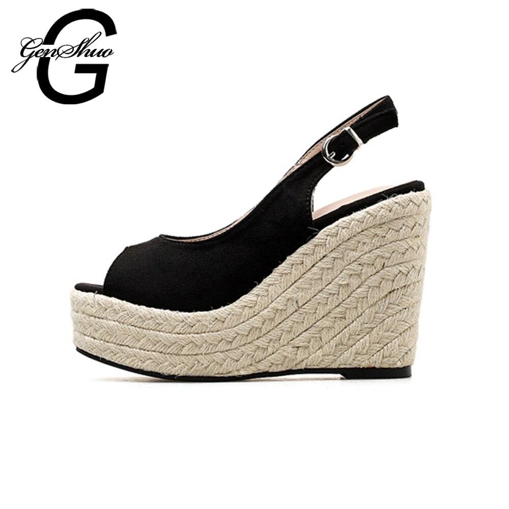 Mujer Sexy Strap De Toe Back Genshuo 11 Plataforma Verano Zapatos Sandalias Alpargatas Peep Cm 4 2018 Negras Cuñas rCodBex