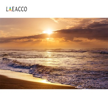 Laeacco Sea Beach Waves Cloud Sunset Holiday Tropical Summer Natural Scenic Photo Background Photographic Backdrops Photo Studio цена 2017
