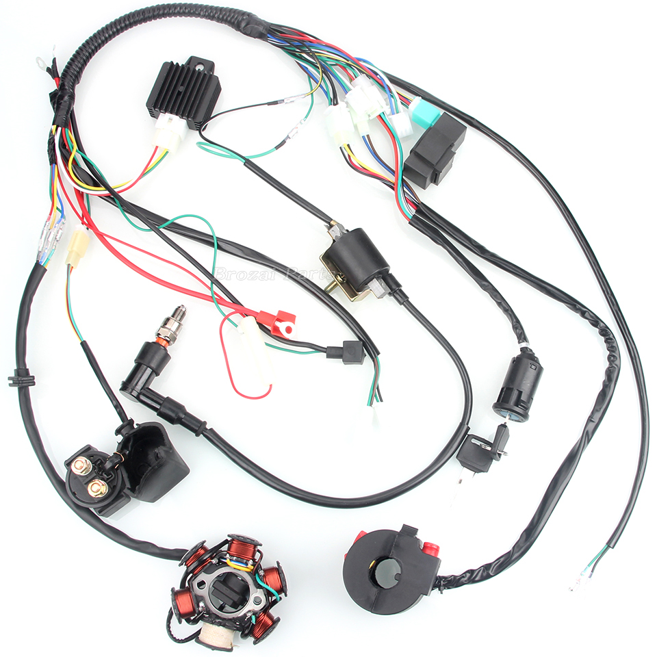 us $14 88 50cc 110cc mini 4 stroke atv complete wiring harness cdi stator 6 coil pole ignition electric quad dirt pit bike chinese parts in motorbike Telorvek Wiring Harness