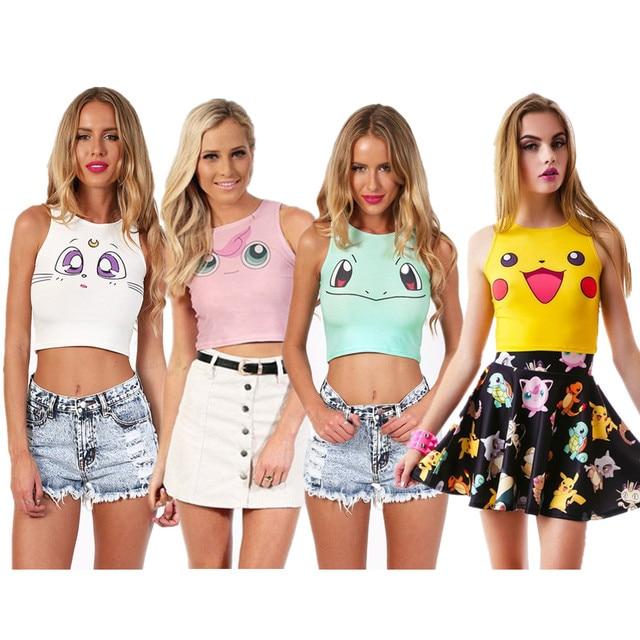 c2c10ab1300b5 Jigglypuff Squirtle Pikachu Crop Tank Tops Cosplay Pokemon Go Sport Running  Vests Camisole Sexy Women Bustier Summer Beach Wear