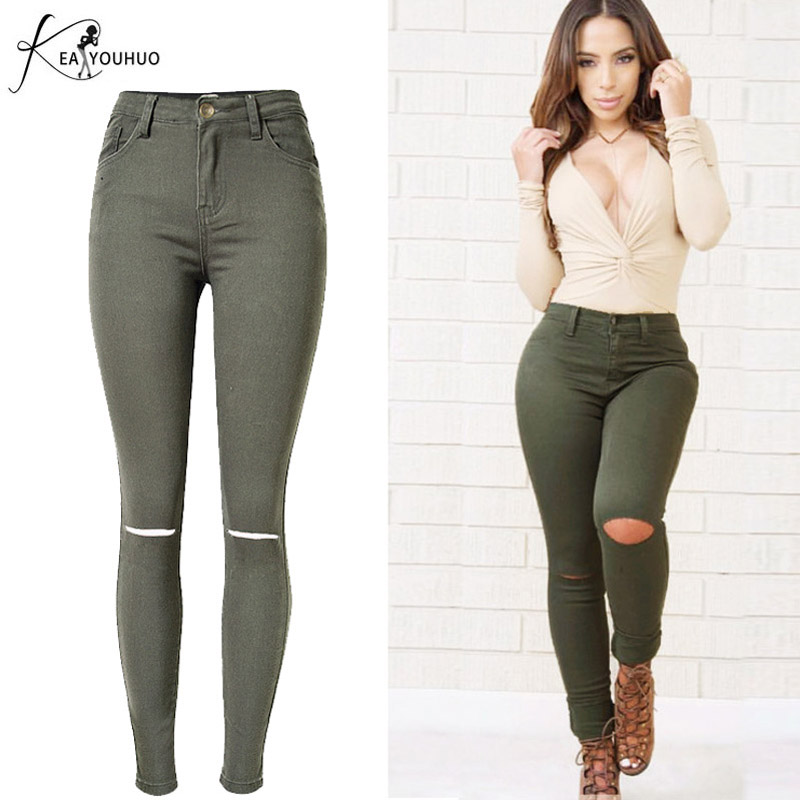 New 2017 Jeans Womens Elastic Skinny High Waist Jeans For Women Pencil Denim Pants Ladies Capris Army Green Trousers Woman Jeans plus size pants the spring new jeans pants suspenders ladies denim trousers elastic braces bib overalls for women dungarees