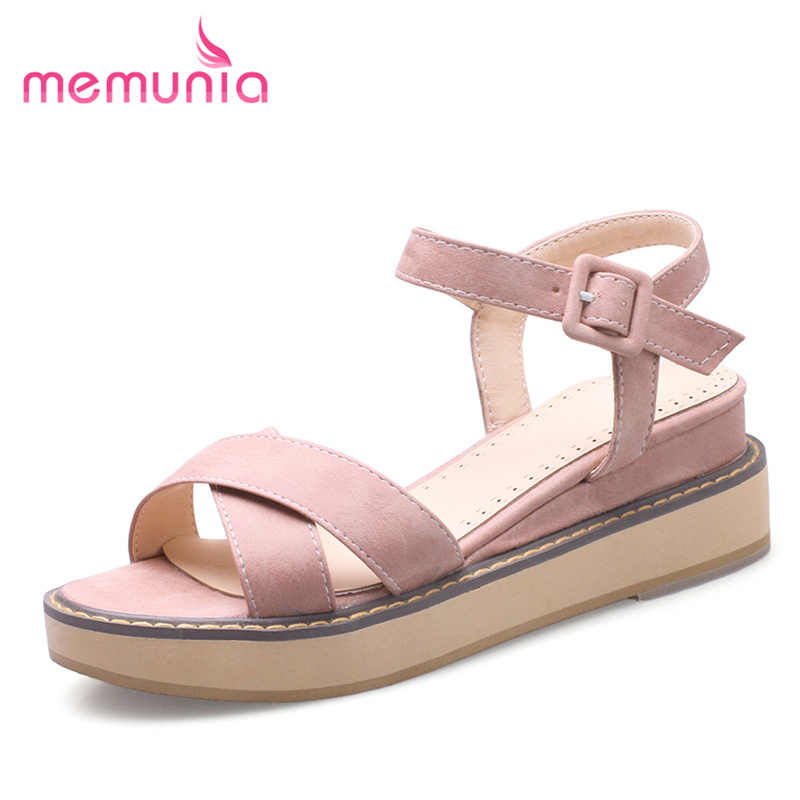 MEMUNIA 2018 new arrive  summer shoes high heels sandals wedges shoes  buckle Light fashion women shoes popular