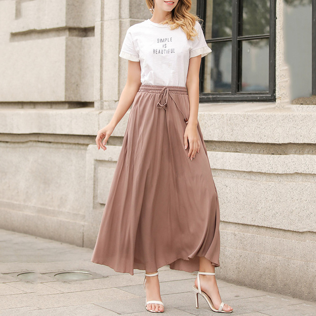 af9f532e06 2018 Retro Summer Preppy Style Long Maxi Pleated Skirts For Women Ladies  Office Skirts Jupe Longue