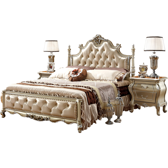 Luxury Clical Italian Style Bedroom Furniture Gold Leather Bed