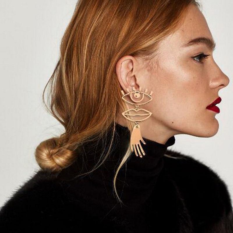 Unique Design Abstract Face Drop Earrings Vintage Metal