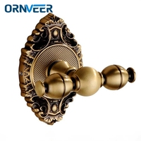 Solid Brass Traditional Clothes Hanger Carving Antique Bronze Bathroom Hat Towel Hooks Hangers Wall Mount
