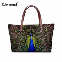 Coloranimal Women Leopard Casual Handbags Cute 3D Animal Peacock Bird Female Shoulder Tote Bag Personalized Large Cross Body Bag