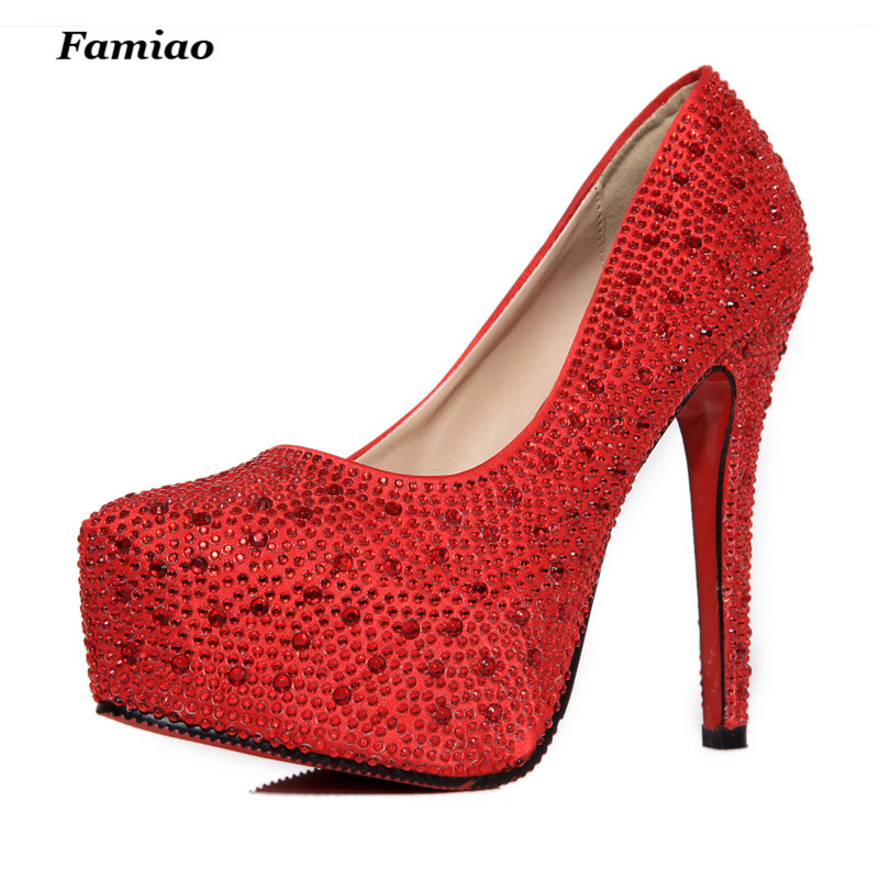 FAMIAO women high heels prom wedding shoes lady crystal platforms silver  Glitter rhinestone bridal shoes thin heel party pump-in Women s Pumps from  Shoes on ... 55887ed02904