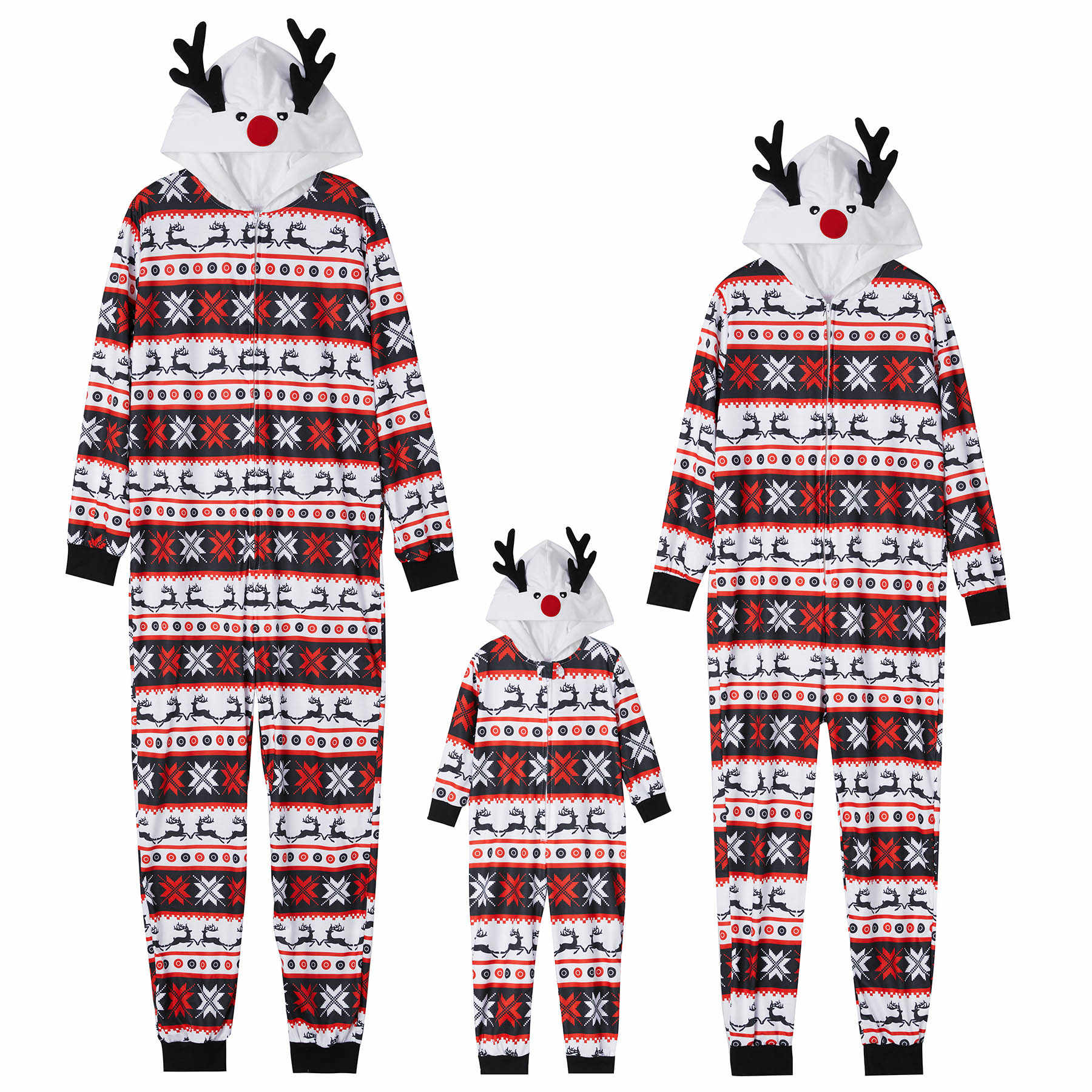 PatPat Family Matching Outfitsคริสต์มาสชุดนอนผ้าฝ้ายชุดนอนReindeer Hoodedการจับคู่ชุดครอบครัวดูชุด