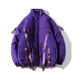 Image 5 - ドロップ配送男性の冬のジャケットカジュアルウインドブレーカーメンズパーカーヒップホップ包帯デザインコートマンストリート生き抜く ABZ59