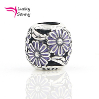100% Solide 925 En Argent Sterling Perles Fleur Style avec Violet émail Charmes Perle Trou Taille 4 cm Adapte Pandora Bracelet d'origine