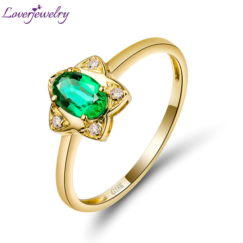 Flower Shape Natural Emerald with Diamond Wedding Rings Design Solid 18K Yellow Gold Genuine Gem Fine Jewelry for Women solid 18k yellow gold green emerald wedding diamonds rings good quality genuine gemstone fine jewelry for women promised gift