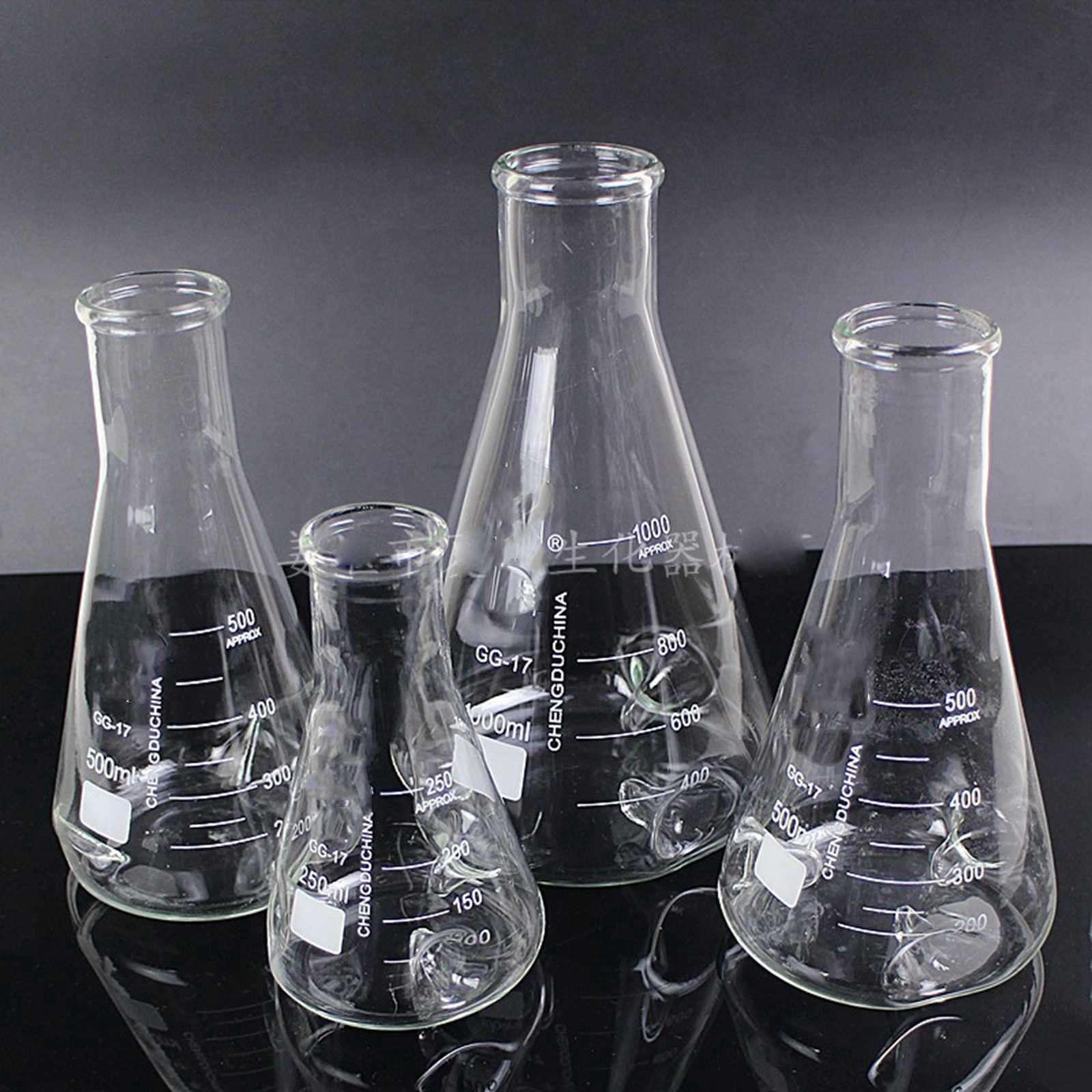 500ml 3 Concave GG17 Glass Flask Narrow Neck Conical Triangular Flask Laboratory Chemical Equipment