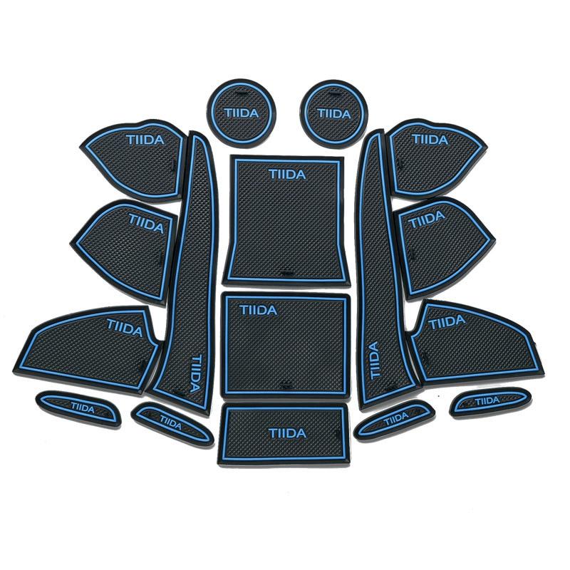 17Pcs Lot Car Interior Upholstery For NISSAN 11-14 TIIDA  Rubber Mat Car Accessories Non-Slip Mat Auto Accessories Interior