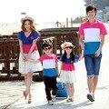 Estilo de la familia de verano de rayas ropa de la madre/vestido de padre e hijo niño de manga corta camiseta de la manera family clothing venta al por menor
