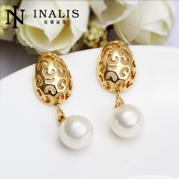 E524 Fashion Party Stud Earrings Gold Pearl Indian Jewelry Women Wedding Long Brincos Penntes Boucle D Oreille In From