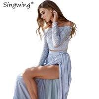 SingWing Lace Slash Neck Women's Sets Dress Solid Color long sleeved dress Drawstring Ruched Mid waist Female dresses set