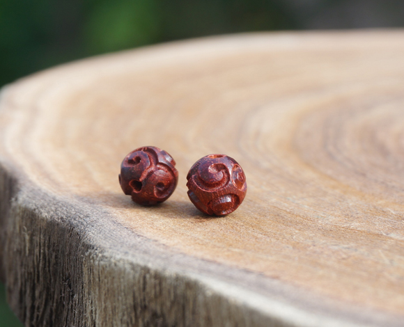6mm 8 10 12mm Red Sandalwood Wood Wooden Carved Cloud Loose Beads Mala Bead Japa Mala