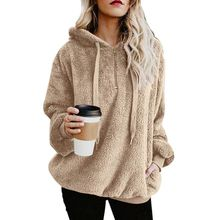 Women Plus Size Warm Hoodie Velvet Autumn Winter Coats Hooded Solid Color Long Sleeve Outerwears