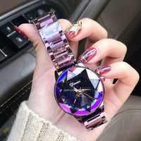 Reloj de cristal de marca de lujo 2019 para mujer, reloj de vestir de moda, relojes de cuarzo de oro rosa, relojes de pulsera de acero inoxidable para mujer
