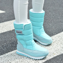 Women snow boots fashion 2018 Winter Wear-Resistant Non-Slip Waterproof Insulated  Thick Boots Mid-Calf Boots Unisex women shoes snow boots for kids winter shoes rubber boots waterproof unisex mid calf hook