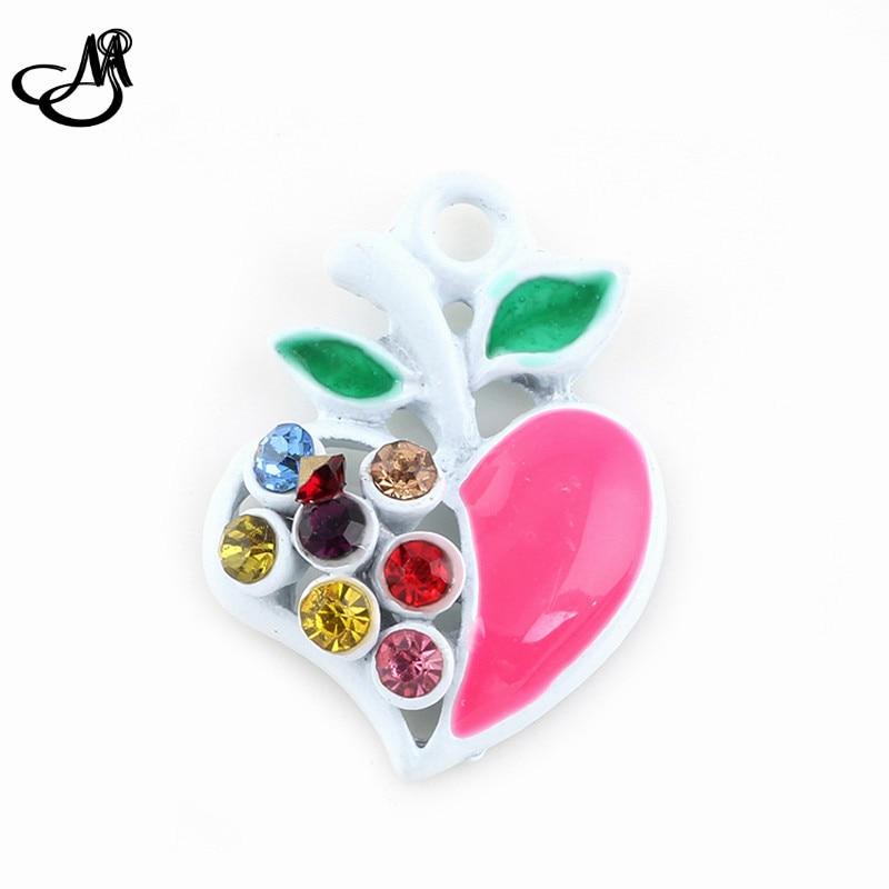 Nouveau DIY Trouver Rose Émail Coloré Strass Pêche Pendentif Balancent Des  Charmes Pour la fabrication de Bijoux Collier Bracelet FA634. ` 399c6df5bd575