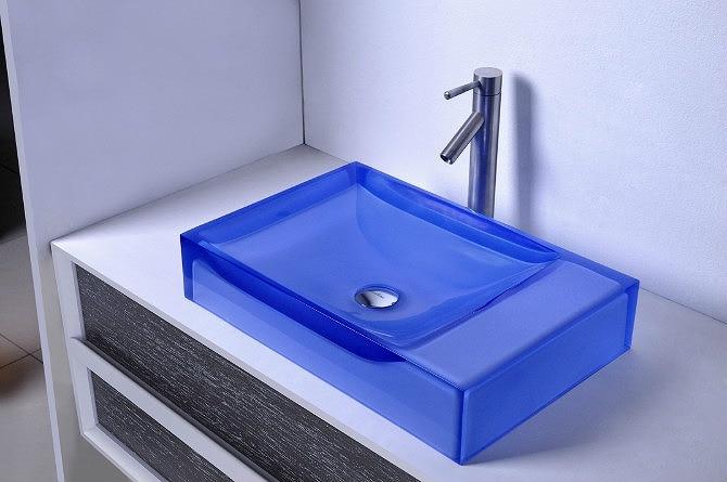 Bathroom Above Counter Colored Resin Acyrlic WASH BASIN Vanity Sink COUNTER TOP Rectangluar Vessel Sink 38247