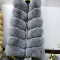 New Fashion Winter Lady Natural Fox Fur Vest Women's Real Genuine Fur Leather Jacket Overcoat Girl's Fox Fur Vest Coat A#16