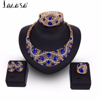 Jacoso Parure Ethiopian Gold Color Necklace Earrings Ring Bracelet Jewelry Set For Women Wedding Blue Crystal