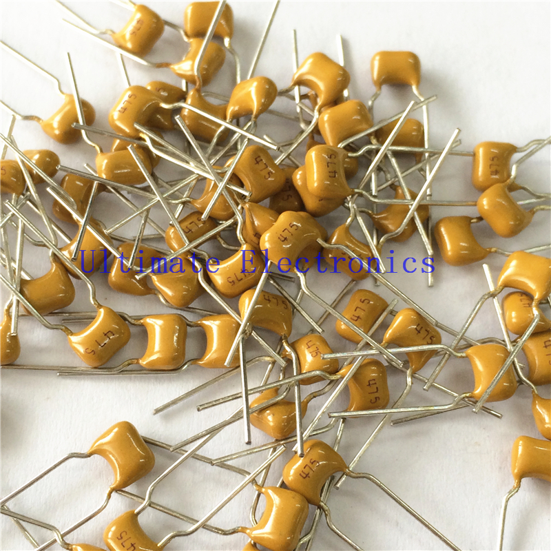 100pcs/lot  Multilayer Ceramic Capacitor 4.7uF 475 50V 4700nF 475M P=5.08mm