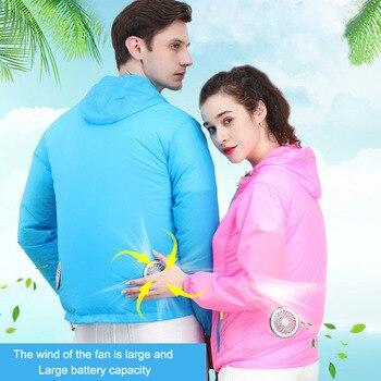 에어 컨디셔닝 자켓 여름 얇은 통기성 냉각 팬 의류 커플 야외 열 방지 낚시 작업 팬 의류