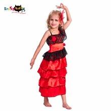 2017 New Flamenco Dancer Roșu Fantezie lungă Spania Dans rochii pentru fete Copii dantelă Anime Cosplay Costum Halloween pentru copii