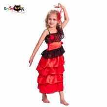 2017 New Flamenco Dancer Red Fancy Long Sepanyol Tarian Pakaian Untuk Girls Kanak-kanak Lace Anime Cosplay Halloween Kostum Untuk Kanak-kanak