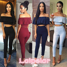 2pcs Set Women Ladies Clubwear Summer Bodycon Party Jumpsuit Ruffles Tops Trousers Clothes Laipelar