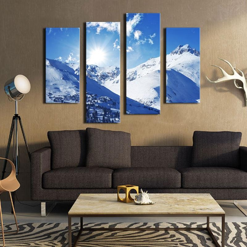 4 Pieces Wall Art Sunny Winter Rocky Mountains Landscape Canvas Painting in Colorado United States Jokul For Wall Decor