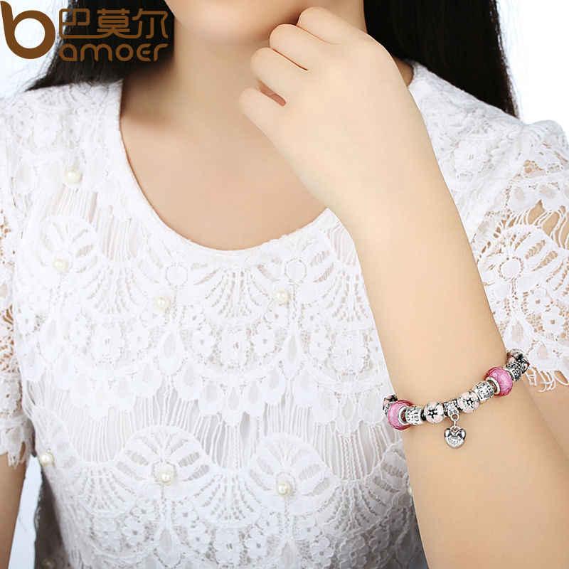BAMOER серебряный браслет с подвеской в виде сердца и подвеской в виде цветущей вишни розовый муранский стеклянный бисер браслет дружбы PA1459