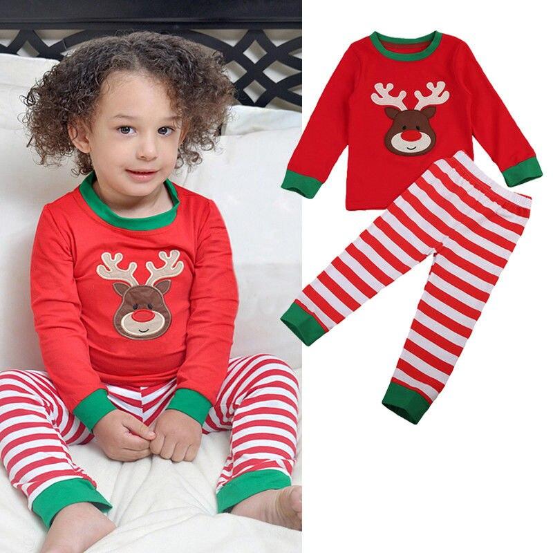 Stock Christmas Children Kids Girls Pyjamas Pjs Set Nightwear Xmas Deer baby girl clothe ...