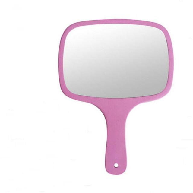 1 UNID Portátil belleza espejo de maquillaje princesa de madera de mano mango de espejo se puede colgar a mano celebrada espejo de vanidad 17E15D50