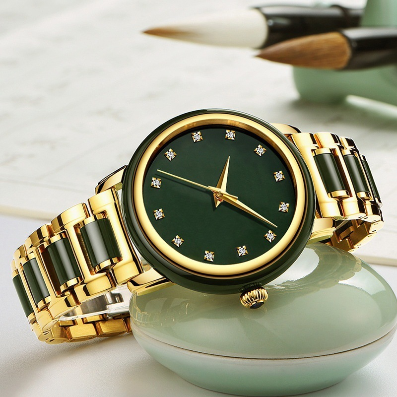 2020 New Jade Custom Fashion Set Auger Import Automatic Mechanical Couple Table Between Steel Jasper Men's Watch