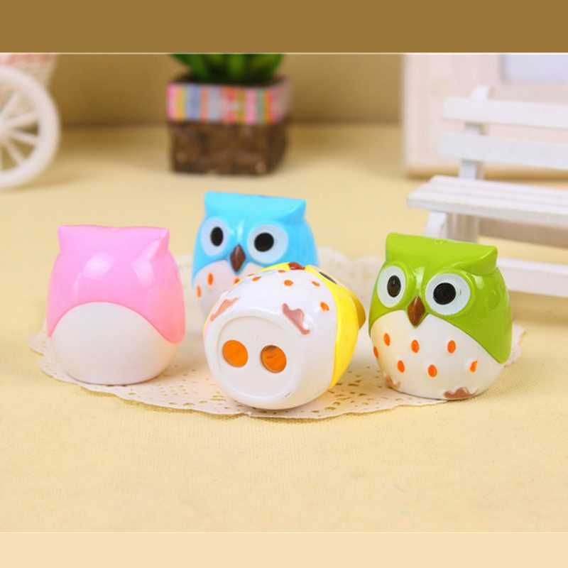 Creative Stationery Cartoon Cute Owl Pencil Sharpener Double Hole Pencil Sharpener Cutter Knife For Students