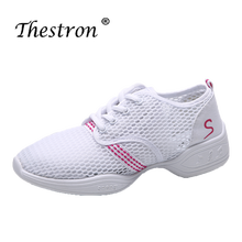 2019 New Arrival Modern Dance Shoe Rubber Mid Heel Dancing Sneakers for Women Lady Mesh Breathable White/Black Jazzing Boots clairol jazzing 10 clear 3oz