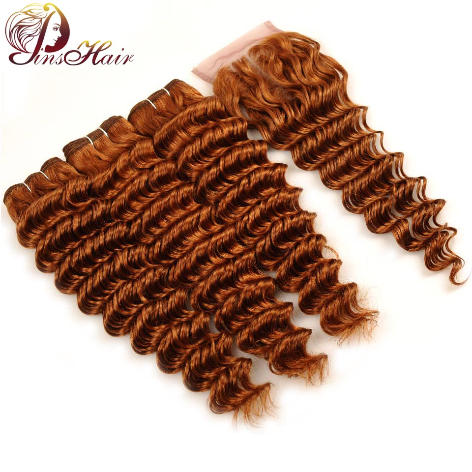Pinshair Dark Blonde Brazilian Deep Wave Bundles With Closure #30 Pre-Colored Human Hair Weave 3 Bundles With Closure Non Remy