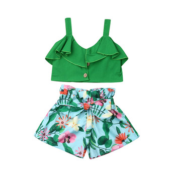1-6Y Boho Summer Kids Baby Girls Outfits Clothes Ruffle Strappy Crop Tops Vest+Floral Bow Wide Leg Shorts 2Pcs Child Girl Sets 1