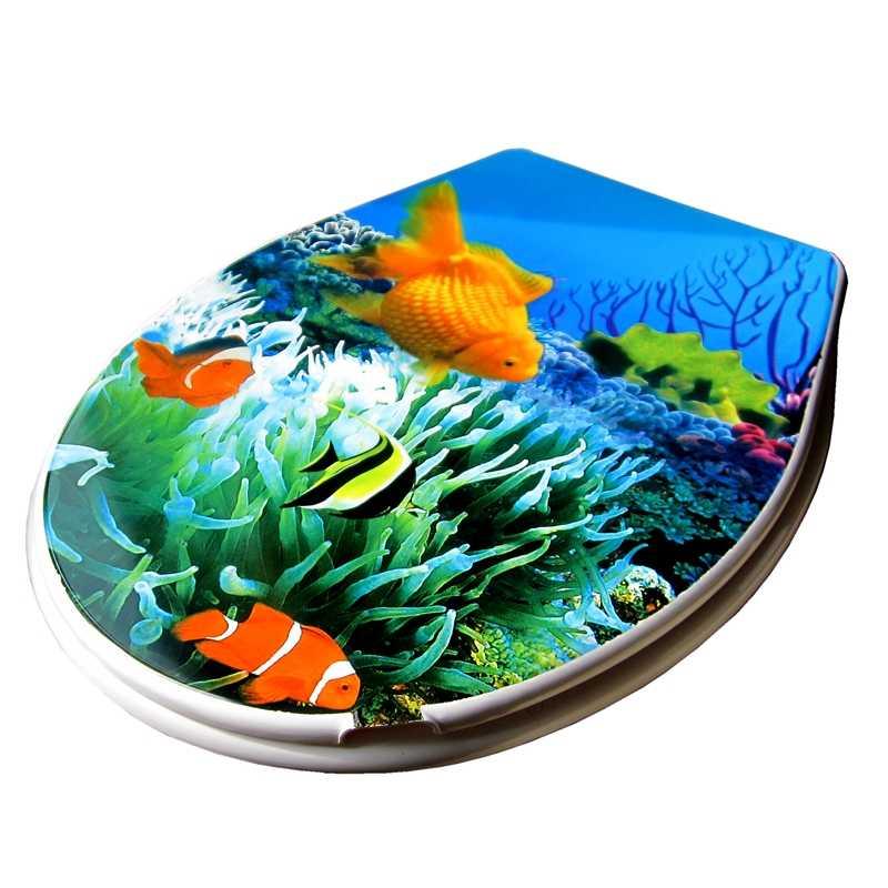 Туалет крышка 2017 высокое качество PP золотая рыбка мода крышку унитаза, набор горячий продавать красочные мраморный эффект сиденье для унитаза