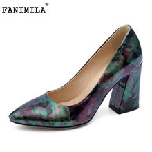 FANIMILA Plus Size 30-47 Ladies Thick High Heel Sexy Pointed Toe Pumps Women  Floral Slip On Shallow Shoes Women Party Footwear 50ae267570db
