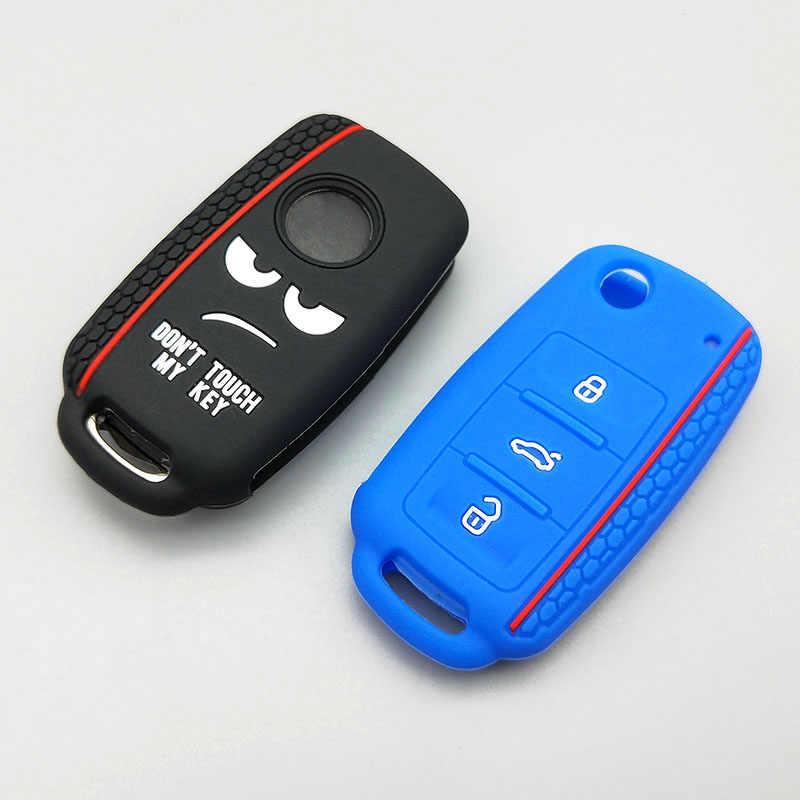 Nowy projekt słowo nie dotykaj mojego klucza do Volkswagen polo passat b5 golf 4 5 6 MK6 Eos Bora Beetle TSI silikonowe etui klucza samochodowego