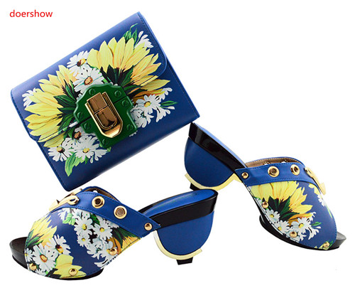 doershow royal blue Shoes And Bag To Match Set Italian Wedding Shoes And Bag Set Matching African Shoes And Bag Set SGF1-2 doershow latest african matching shoes and bag set beautiful design european ladies slipper and bags sets free shipping sgf1 45