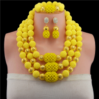 Yellow African Beads Jewelry Set 2019 Nigerian Wedding African Beads for Brides Party Bridal Jewelry Set Free Shipping
