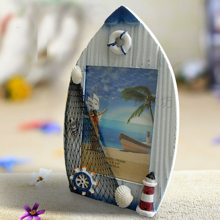 free shiiping sailing boat photo frame mediterranean style solid wood frame beach photo frame crafts gift